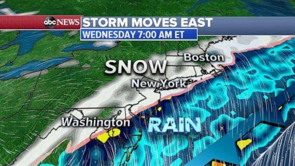 PHOTO: The Wednesday morning rush could be messy from Washington, D.C. to New York City and Boston. (ABC News)
