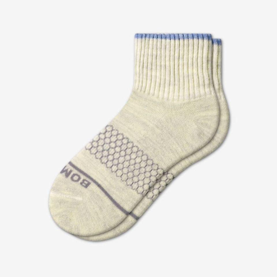 """<p>bombas.com</p><p><strong>$18.00</strong></p><p><a href=""""https://bombas.com/products/womens-merino-quarter-sock"""" rel=""""nofollow noopener"""" target=""""_blank"""" data-ylk=""""slk:Shop Now"""" class=""""link rapid-noclick-resp"""">Shop Now</a></p><p>Never was there a more underrated gift than a pair of socks. But these aren't the ones your Nana gifts. A favorite among <em>Prevention</em> readers and editors, these are made with moisture-wicking merino wool, have a seamless toe design to prevent chafing, and cover the ankles—making them perfect with boots. With every purchase, Bombas will <a href=""""https://bombas.com/pages/giving-back"""" rel=""""nofollow noopener"""" target=""""_blank"""" data-ylk=""""slk:donate a pair of socks"""" class=""""link rapid-noclick-resp"""">donate a pair of socks</a> to a shelter or nonprofit. </p>"""
