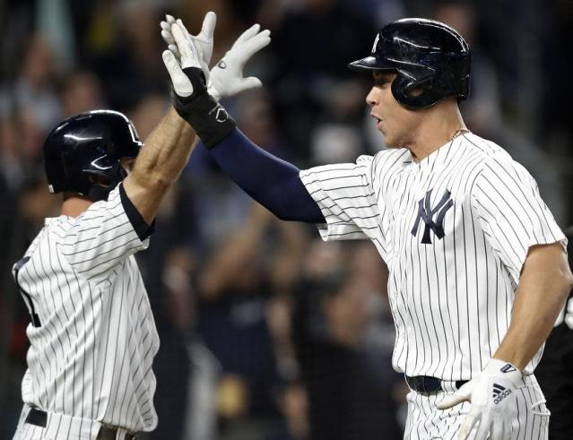 Aaron Judge (right) is pacing a powerful New York Yankees lineup. (AP)