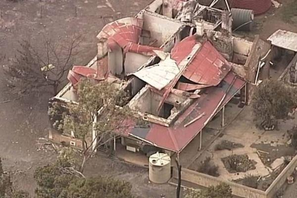 A home destroyed by fires in the Yorke Peninsula. Picture: ABC