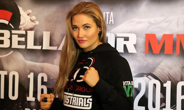 "<span class=""element-image__caption"">Anastasia Yankova fought at a White Rex event and promoted their clothing but denies sharing their ideology.</span> <span class=""element-image__credit"">Photograph: Pacific Press/LightRocket via Getty Images</span>"