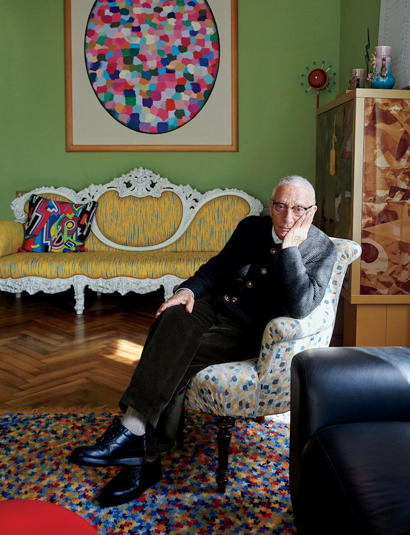 Alessandro Mendini in his vacation home in Olda, Italy. The designer passed away Monday at the age of 87.