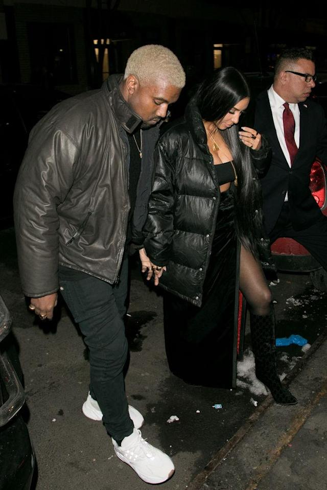<p>The high-profile couple coordinate their looks for everything from red carpets to casual dinner outings. They were seen in matching black looks in New York City in February. (Photo: Getty Images) </p>