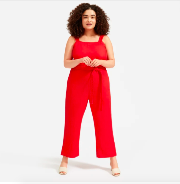 Everlane's new square-neck linen jumpsuit is a chic warm-weather essential.