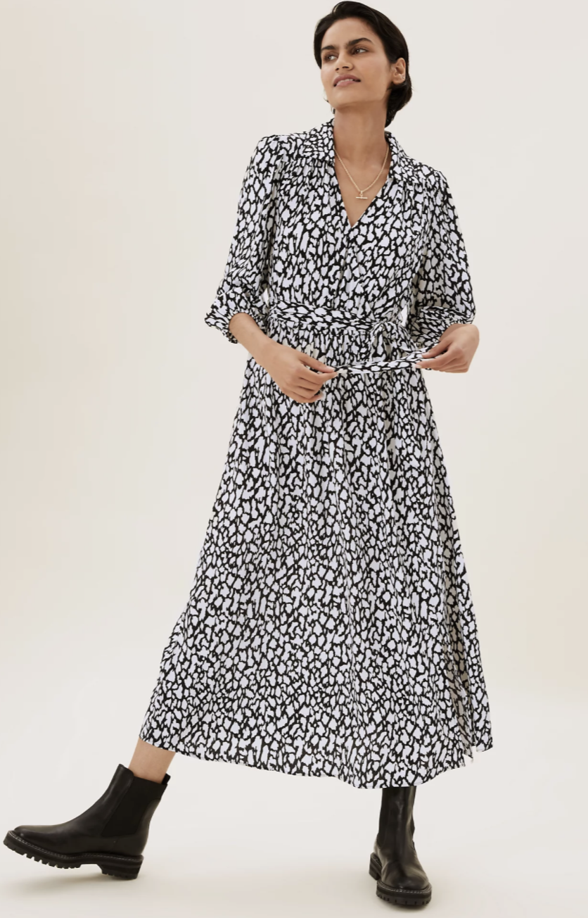 M&S' Animal Print Wrap Midi Dress is the perfect wardrobe staple to see you through all occasions and all seasons - consider it an investment piece.  (Marks and Spencer)