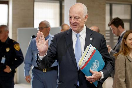 UN Special Envoy of the Secretary-General for Syria Staffan de Mistura, arrives to take part in a round of negotiation with opposition HNC at the European headquarters of the United Nations in Geneva