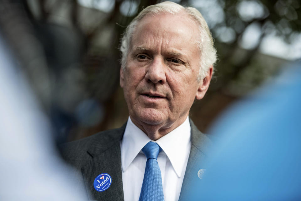 FILE - In this Nov. 6, 2018 file photo, South Carolina Gov. Henry McMaster talks with the media after casting votes at a polling station in Columbia, S.C. A small group of state senators are holding a hearing over whether South Carolina should follow the lead of other states and ban nearly all abortions. The bill banning almost all abortions after a fetal heartbeat is detected around six weeks into pregnancy easily passed the South Carolina House in earlier 2019 and is enthusiastically supported by McMaster. (AP Photo/Sean Rayford, File)