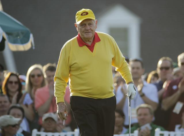 FILE - In this April 11, 2019, file photo, Jack Nicklaus hits a ceremonial tee shot on the first hole during the first round for the Masters golf tournament in Augusta, Ga. Nicklaus turns 80 on Tuesday, Jan. 21, 2020. (AP Photo/Charlie Riedel, File)