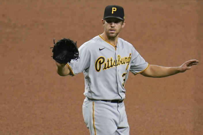 Pittsburgh Pirates starting pitcher Tyler Anderson motions during the seventh inning of a baseball game against the San Diego Padres, Monday, May 3, 2021, in San Diego. (AP Photo/Gregory Bull)