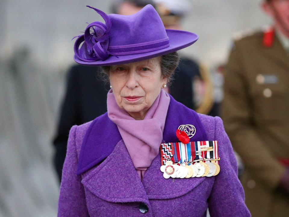 Anne, Princess Royal, walks past the Australian memorial during a Dawn Service to commemorate Anzac Day, in London (REUTERS)
