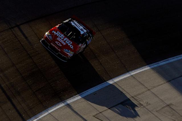 FORT WORTH, TX - NOVEMBER 04: Tony Stewart, driver of the #14 Office Depot/Mobil 1 Chevrolet, drives during qualifying for the NASCAR Sprint Cup Series AAA Texas 500 at Texas Motor Speedway on November 4, 2011 in Fort Worth, Texas. (Photo by Tom Pennington/Getty Images for NASCAR)