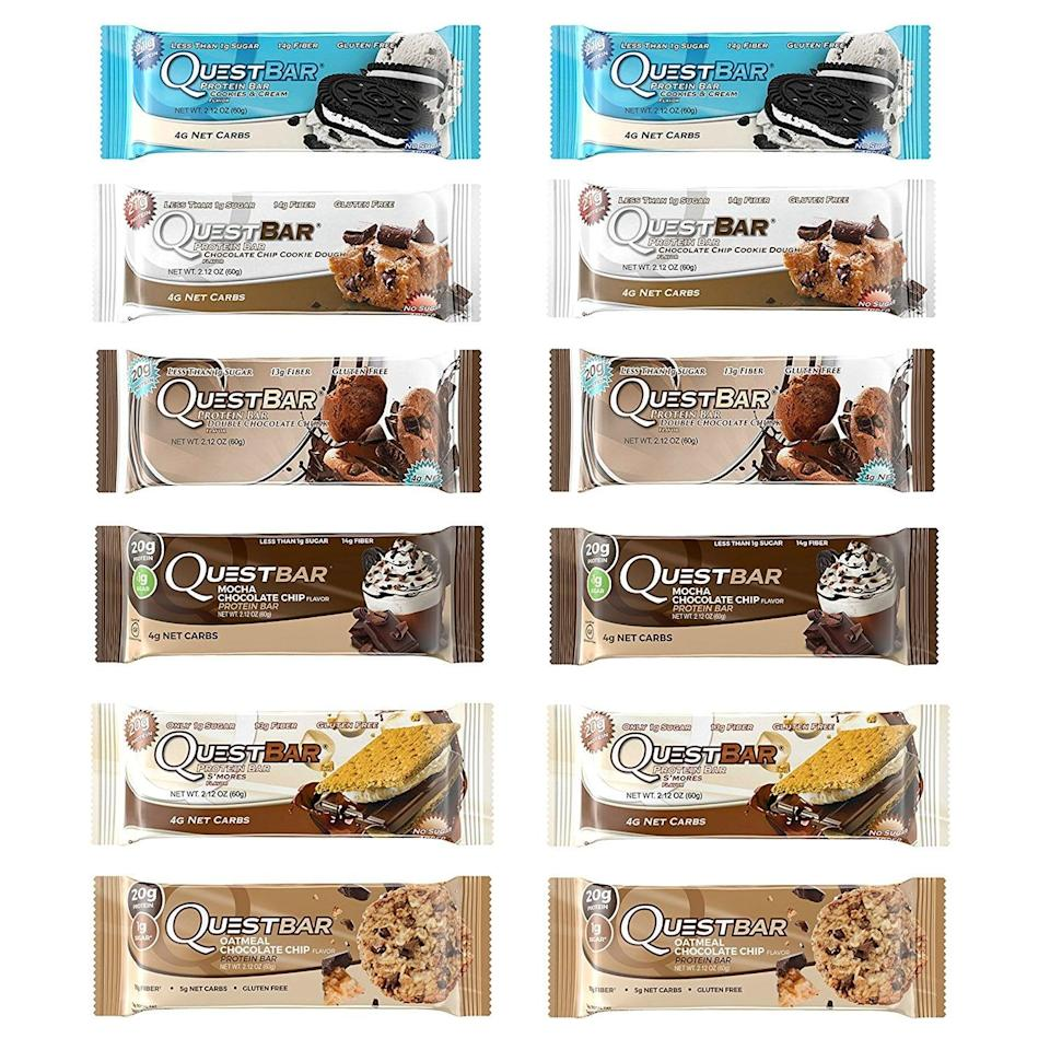 <p>We're fans of Quest bars, and these are some of our favorite flavors, so it's almost like the <span>Quest Nutrition Fan Favorites Variety Pack</span> ($48) was made just for us, right? But seriously, these bars have around 20 grams of protein with very low sugar levels and carbs. Plus, they taste delicious, especially the chocolate chip cookie dough. </p>