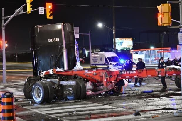 Two people are dead following a high speed crash at Bramalea Road and Steeles Avenue shortly after midnight on Saturday, Sept. 25. (Jeremy Cohn/CBC News - image credit)