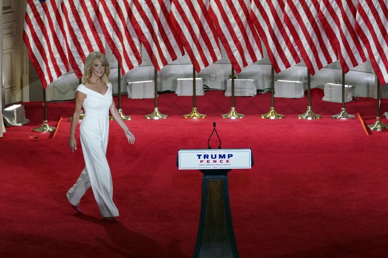 White House counselor Kellyanne Conway walks onto the stage to tape her speech for the third day of the Republican National Convention from the Andrew W. Mellon Auditorium in Washington, Wednesday, Aug. 26, 2020. (AP Photo/Susan Walsh)