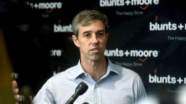 PHOTO: Democratic Presidential candidate Beto O'Rourke speaks at Blunts+Moore in Oakland, Calif., Sept. 19, 2019. (Neal Waters/Zuma Press)
