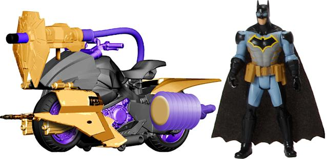 <p>The Batmobile isn't Batman's only mode of transport. Hop aboard the tricked-out Batcycle for those nights when Gotham City's four-wheel traffic is particularly bad. (Photo: Mattel/Warner Bros.) </p>