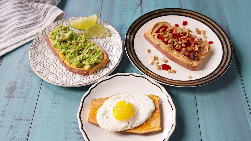 """<p>Yep, this clever breakfast concept is the coolest thing since ... well, sliced bread. There's tons of beta-carotene in these orange spuds which helps with inflammation so you can keep kicking butt all day.</p><p>Get the recipe from <a href=""""https://www.delish.com/cooking/recipe-ideas/recipes/a49086/sweet-potato-toast-recipe/"""" rel=""""nofollow noopener"""" target=""""_blank"""" data-ylk=""""slk:Delish"""" class=""""link rapid-noclick-resp"""">Delish</a>.</p>"""