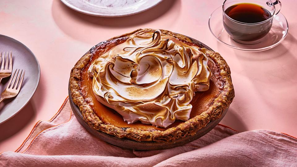 """The custard is enriched with coconut cream, extra ginger and cinnamon, a generous pour of smokey whiskey, and, of course, lots of slow-roasted sweet potatoes. <a href=""""https://www.bonappetit.com/recipe/whiskey-sweet-potato-pie?mbid=synd_yahoo_rss"""" rel=""""nofollow noopener"""" target=""""_blank"""" data-ylk=""""slk:See recipe."""" class=""""link rapid-noclick-resp"""">See recipe.</a>"""