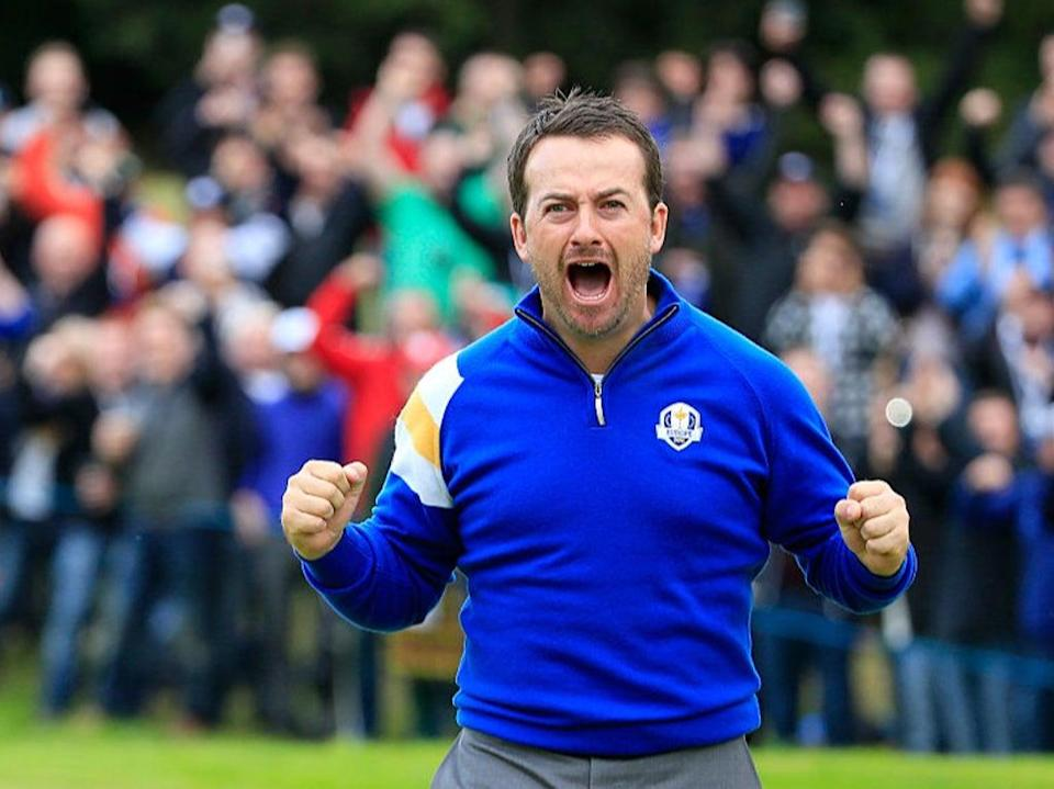 McDowell celebrates defeating Jordan Spieth during the 2014 Ryder Cup at Gleneagles (Getty)