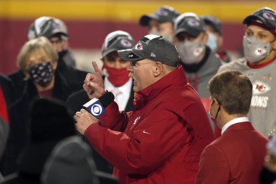 Kansas City Chiefs head coach Andy Reid celebrates after the AFC championship NFL football game against the Buffalo Bills, Sunday, Jan. 24, 2021, in Kansas City, Mo. The Chiefs won 38-24. (AP Photo/Charlie Riedel)