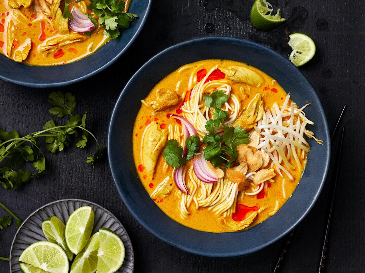 "<p>What gives this easy Khao Soi its incredible flavor backbone is the homemade curry paste. It's easier to whip up in the food processor than you might think and we'd strongly recommend giving it a try. However, if you find yourself pinched for time, you can substitute 3-4 tablespoons of store-bought curry paste. Lemongrass is easily sourced at specialty or Asian markets; however, if you have trouble finding it fresh, you can find a super convenient lemongrass paste in the produce section of many conventional grocery stores. </p> <p><a href=""https://www.myrecipes.com/recipe/instant-pot-khao-soi"">Instant Pot Khao Soi Recipe</a></p>"