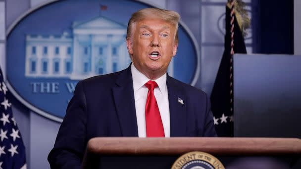 PHOTO: U.S. President Donald Trump speaks during a coronavirus disease (COVID-19) task force news briefing at the White House in Washington, July 28, 2020. (Carlos Barria/Reuters)