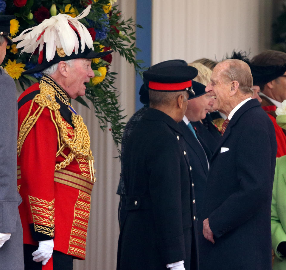 LONDON, UNITED KINGDOM - NOVEMBER 01: (EMBARGOED FOR PUBLICATION IN UK NEWSPAPERS UNTIL 48 HOURS AFTER CREATE DATE AND TIME) Lord Samuel Vestey, Master of the Horse, talks with Prince Philip, Duke of Edinburgh during the Ceremonial Welcome for the President of Colombia at Horse Guards Parade on November 1, 2016 in London, England. The President of the Republic of Colombia Juan Manuel Santos and his wife Maria Clemencia Rodriguez de Santos are paying their first State Visit to the UK as official guests of Queen Elizabeth. (Photo by Max Mumby/Indigo/Getty Images)