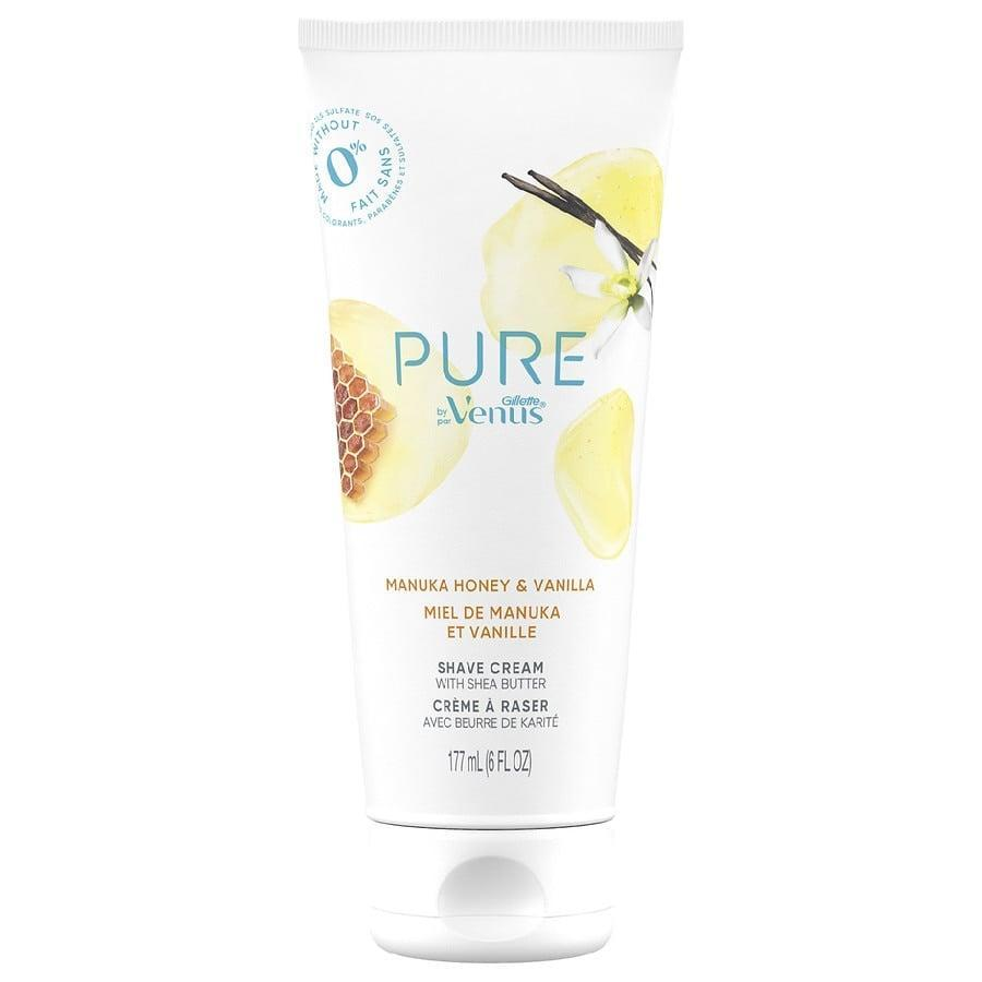 <p>An absolute staple on one editor's hair removal product list is the <span>Gillette Venus Pure Shaving Cream Manuka Honey and Vanilla</span> ($8), which smooths on skin like butter to make for the closest shave possible and smells even better - like vanilla pudding!</p>
