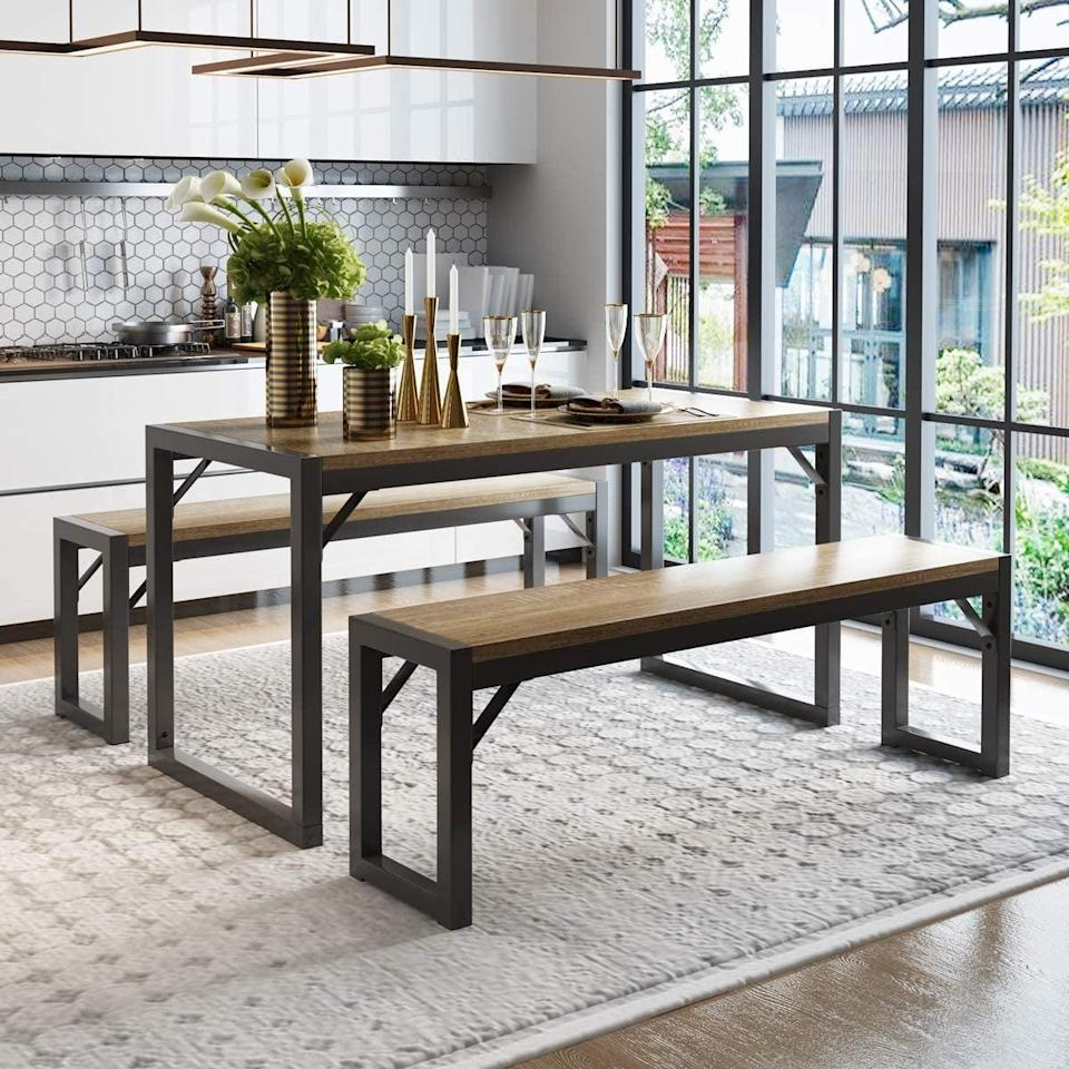 <p>Whether you turn this <span>Decok 3-Piece Dining Table Set</span> ($160) as a work-from-home station or use it to entertain guests, you'll get a lot of use out of it. Once you're done, you can tuck the benches underneath the table, which is super space-efficient.</p>