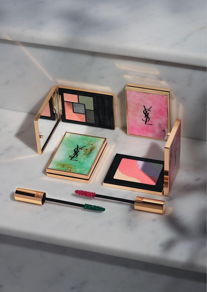 """The two limited edition """"Boho Stone"""" palettes from Yves Saint Laurent -- """"Couture Palette"""" and """"Face Palette"""" -- plus the two new shades of """"Volume Effet Faux Cils"""" mascara."""