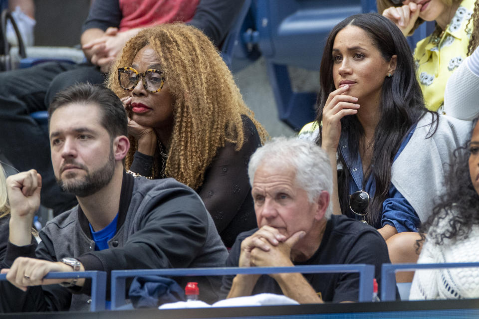 2019 US Open Tennis Tournament- Day Thirteen. Meghan Markle, Duchess of Sussex in the the team box of Serena Williams next to Oracene Price, mother of Serena Williams while watching Serena Williams of the United States in action against Bianca Andreescu of Canada in the Women's Singles Final on Arthur Ashe Stadium during the 2019 US Open Tennis Tournament at the USTA Billie Jean King National Tennis Center on September 7th, 2019 in Flushing, Queens, New York City. (Photo by Tim Clayton/Corbis via Getty Images)