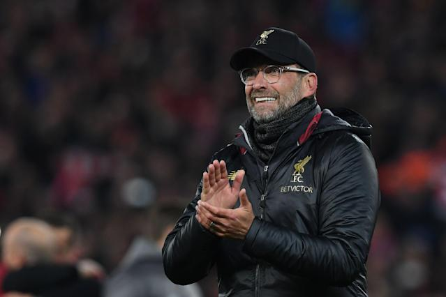 Liverpool's German manager Jurgen Klopp celebrates winning the UEFA Champions league semi-final second leg football match between Liverpool and Barcelona at Anfield in Liverpool, north west England on May 7, 2019. (Photo by Paul Ellis/AFP/Getty Images)