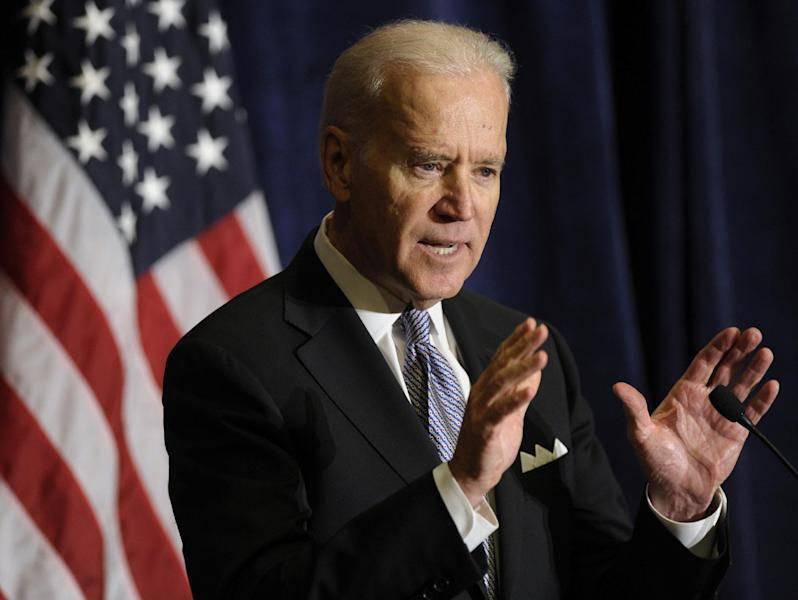 Vice President Biden speaks at the Association of State Democratic Chairs Meeting in Washington, Thursday, Feb. 27, 2014. (AP Photo/Susan Walsh)