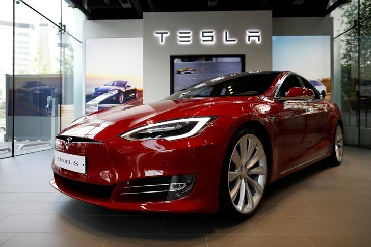 A Tesla Model S electric car is seen at its dealership in Seoul