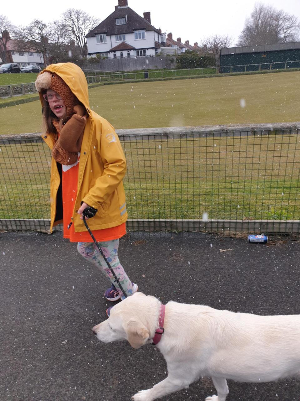 Rowan took family dog Vena with her on her walk (Family handout/PA)