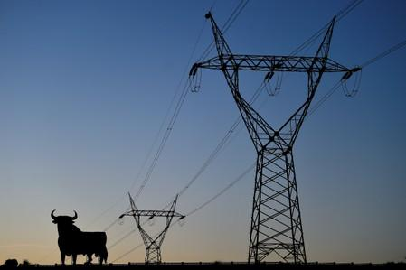 "FILE PHOTO: Power lines connecting pylons of high-tension electricity and a billboard-sized figure of a bull, known as the ""Osborne bull"", are seen at sunset in El Berron"