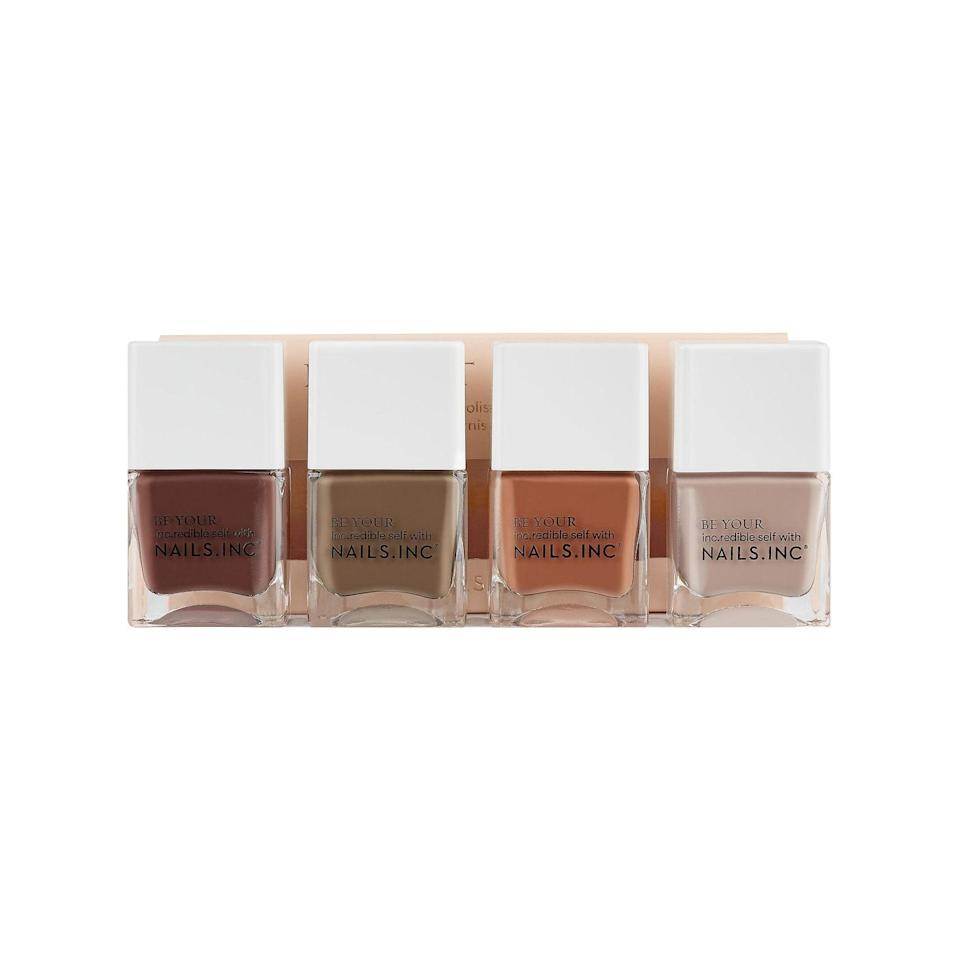 "Must-have neutrals for the former manicure addict who can't bring themselves to set foot inside a nail salon. $22, Nails Inc.. <a href=""https://www.sephora.com/product/nails-inc-keep-it-tonal-nail-polish-set-P455562?skuId=2314110&nrtv_cid=5f9fcac82653d3abbdcaaae006e88caa2bcf90d17b737921652e81ac6bfea3d8&om_mmc=ppc-NV_24044480_8751158_glamour_1721652022019526088&country_switch=us&lang=en&dclid=CPSErK-8yewCFdA5AQodploCgg"" rel=""nofollow noopener"" target=""_blank"" data-ylk=""slk:Get it now!"" class=""link rapid-noclick-resp"">Get it now!</a>"