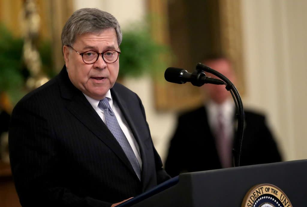 U.S. Attorney General William Barr delivers remarks during a White House ceremony Sept. 9, 2019 in Washington, DC. | Win McNamee/Getty Images