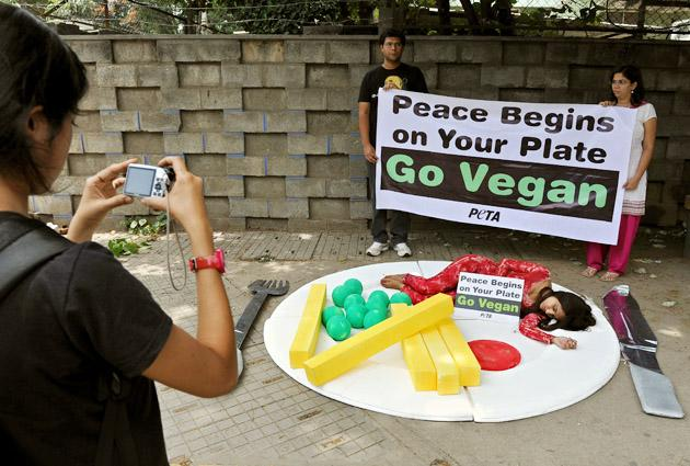 An onlooker takes a photograph of a People for the Ethical Treatment of Animals (PeTA) activist attired to look like a pice of meat within a meal as she lies on a huge plate during a demonstration in Bangalore on September 21, 2012. The activists staged the demonstration to urge public to go vegan and stop violence against animals to mark the International Day of Peace. AFP PHOTO/Manjunath KIRAN