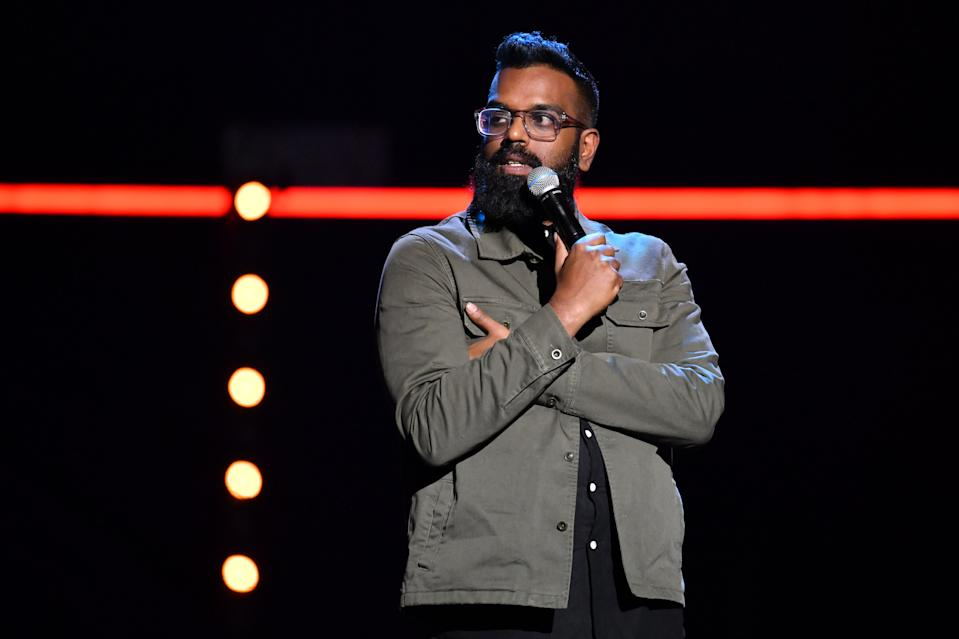 Romesh Ranganathan performs during the Teenage Cancer Trust comedy night, at the Royal Albert Hall, London. (Photo by Matt Crossick/PA Images via Getty Images)