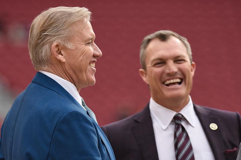 SANTA CLARA, CA - DECEMBER 09: Denver Broncos General Manager John Elway and San Francisco 49ers General Manager John Lynch before the NFL football game between the Denver Broncos and the San Francisco 49ers on December 9, 2018 at Levi's Stadium in Santa Clara, CA. (Photo by Cody Glenn/Icon Sportswire via Getty Images)