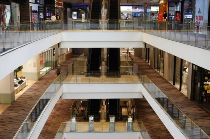 A largely empty shopping center is seen during the coronavirus disease (COVID-19) outbreak in Singapore