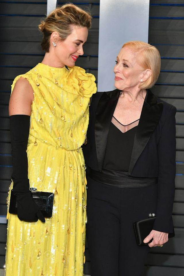 Sarah Paulson and Holland Taylor walk the red carpet at the 2018 Vanity Fair Oscar Party on March 4. (Photo: Dia Dipasupil/Getty Images)