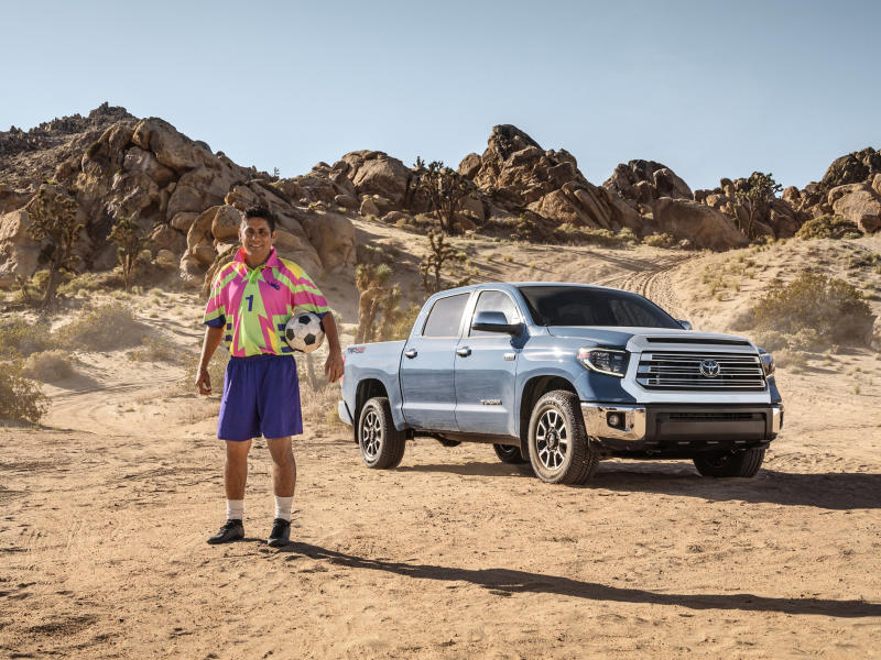 Jorge Campos on set with the Toyota Tundra.