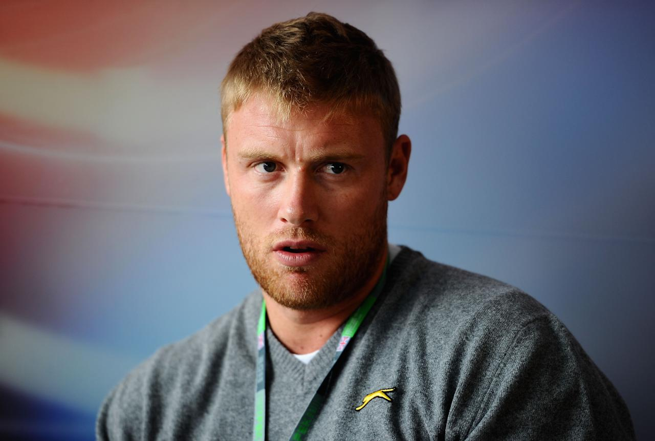 NORTHAMPTON, UNITED KINGDOM - JULY 07:  Former England cricketer Andrew Flintoff is seen in the paddock during previews to the British Formula One Grand Prix at the Silverstone Circuit on July 7, 2011 in Northampton, England.  (Photo by Clive Mason/Getty Images)