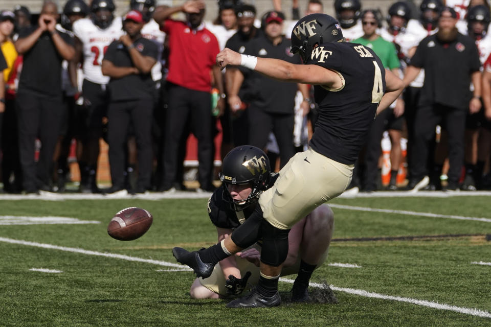 Wake Forest place kicker Nick Sciba kicks the game winning field goal against Louisville during the second half of an NCAA college football game on Saturday, Oct. 2, 2021, in Winston-Salem, N.C. (AP Photo/Chris Carlson)