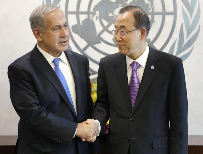 Israeli Prime Minister Benjamin Netanyahu, left, shakes hands with United Nations Secretary-General Ban Ki-moon during the 68th session of the General Assembly at U.N. headquarters, Tuesday, Oct. 1, 2013. (AP Photo/Seth Wenig)