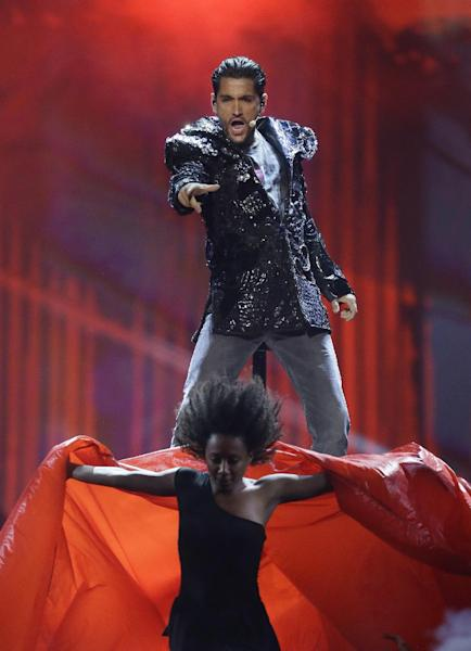 "Cezar of Romania performs the song ""It's My Life"" during a rehearsal for the final of the Eurovision Song Contest at the Malmo Arena in Malmo, Sweden, Friday, May 17, 2013. The contest is run by European television broadcasters with the event being held in Sweden as they won the competition in 2012, the final will be held in Malmo on May 18. (AP Photo/Alastair Grant)"