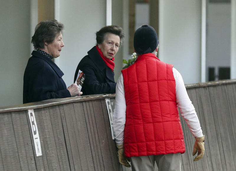 The Princess Royal, Vice-Patron of the equine charity, The British Horse Society, talks to Jennie Loriston-Clarke as she visits the Addington Equestrian Centre near Buckingham. PA Photo. Picture date: Monday March 16, 2020. During the visit she watched a display of world-class coaching demonstrations from top coaches, before giving a speech about the importance of having qualified coaches within the equestrian industry. See PA story ROYAL Anne. Photo credit should read: Steve Parsons/PA Wire (Photo by Steve Parsons/PA Images via Getty Images)