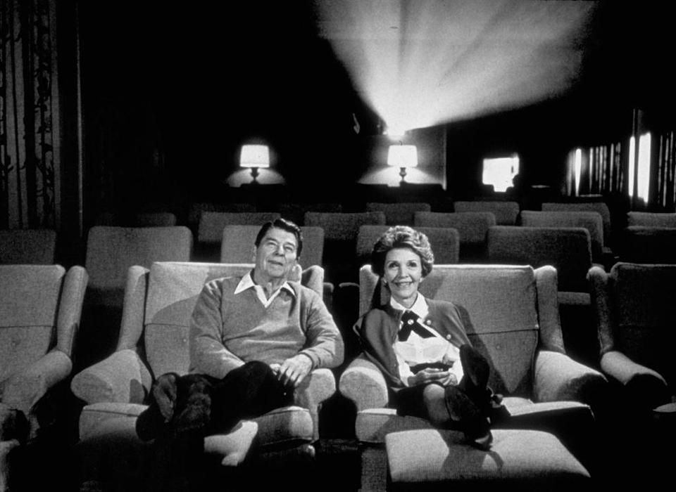 <p>The President and First Lady curled up for a movie in the White House screening room. </p>